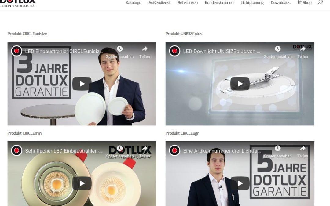 Und Action…DOTLUX Produktvideos